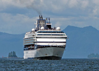 Cruise ship approaches Ketchikan