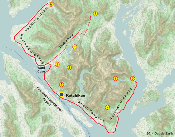 Ketchikan road system and fishing locations