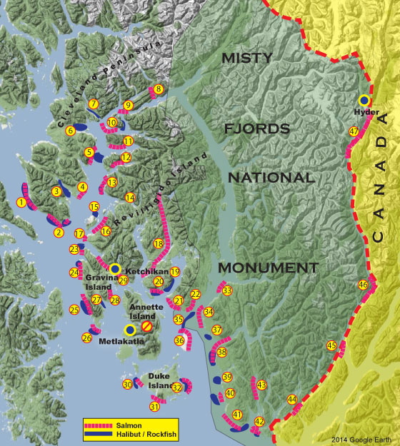 Ketchikan saltwater fishing locations