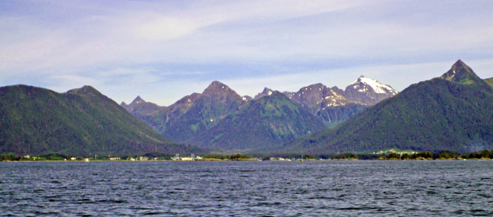 Sitka, Alaska as seen from Sitka Sound