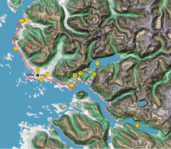 Map of the road system on Baranof Island, in the vicinity of Sitka, Alaska