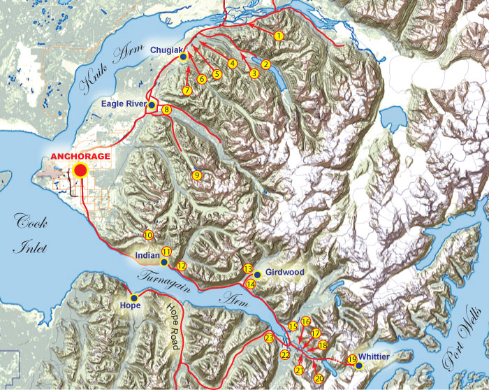 Map of fishing opportunities close to Anchorage Alaska