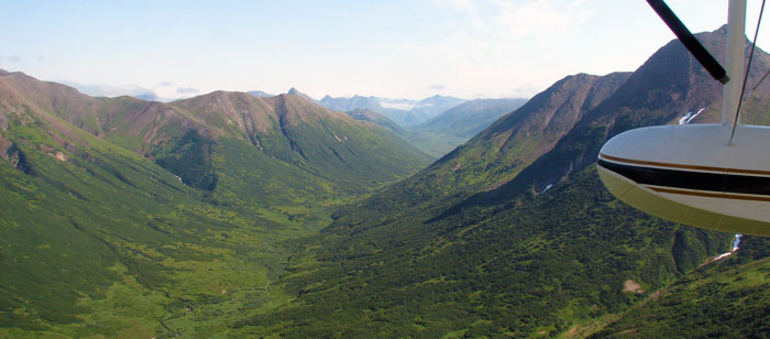 Flying through the Akhlun Mountains on the way to the Goodnews River, Alaska
