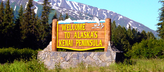 Sign welcoming visitors to Alaska's Kenai Peninsula