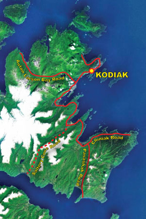 map of the road system on Kodiak Island, Alaska
