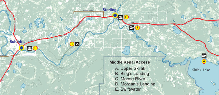 Map showing boat launches on the middle Kenai River, Alaska