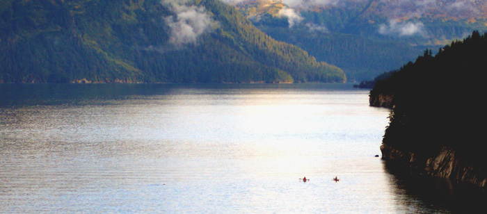 sea kayaking on Prince William Sound, near Culross Passage, Alaska