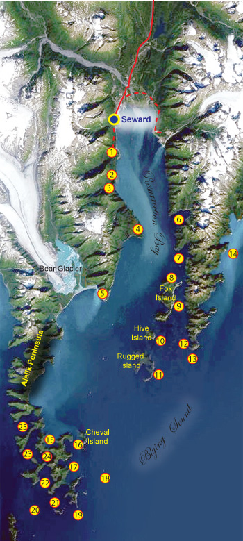 Fishing map of Resurrection Bay, Alaska