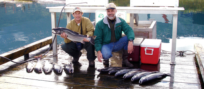 Silver salmon fishing in Whittier, Alaska