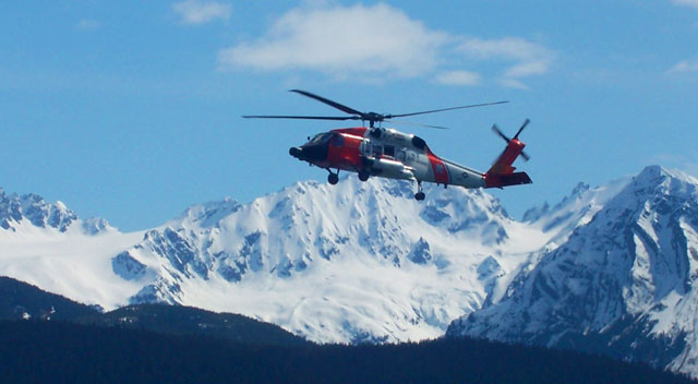 U. S. Coast Guard helicopter in Seward, Alaska