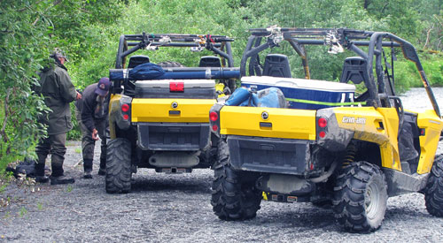 Can Am ATVs along the Saltery River on Kodiak Island