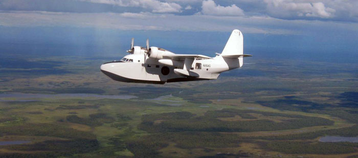 Terry Smith flies his Grumman Albatross over western Alaska