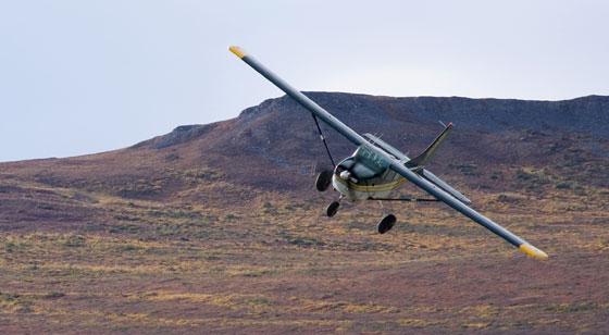 Cessna 206 on approach in Bush Alaska