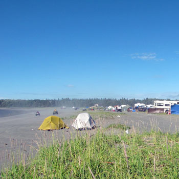 Camping on the dunes while dipnetting the lower Kasilof River, Alaska