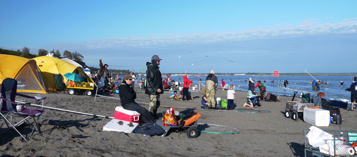dipnetting on the beach at Alaska's Kenai River