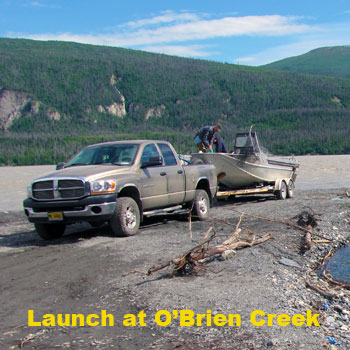 launching a jet boat at O'Brien Creek on the Copper River, near Chitina, Alaska