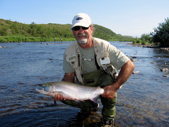 Bob Plank with a fresh red from the Goodnews River