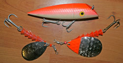 Trolling lures used for saltwater king salmon fishing in Alaska