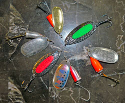 Spoons and spinners used for Alaska king salmon fishing
