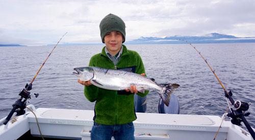 Fishing for coho salmon near Prince of Wales Island, Alaska