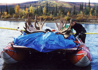 Cataraft with a load of moose meat and antlers