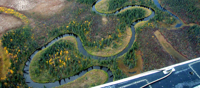 River flyover in Alaska's remote tundra country