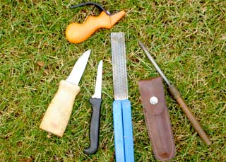 Knives and other skinning tools