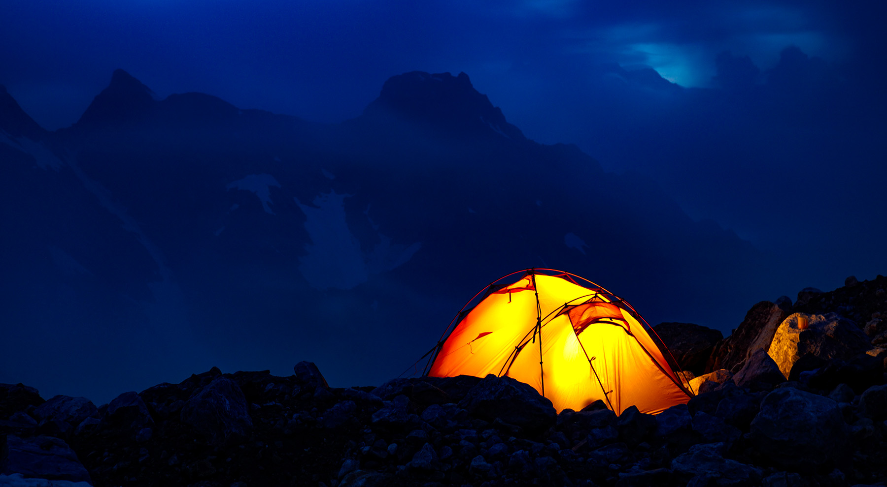 Mountaineering tent in sheep country.