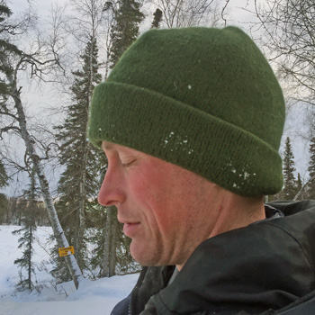Alaska field test of sweater chalet knit wool cap