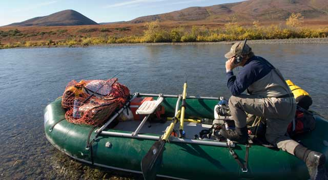 Motorola Irridium satphone on the Noatak River Alaska