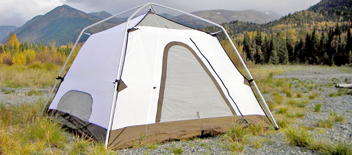 Barney's Bombshelter tent without rain fly on an Alaska float trip