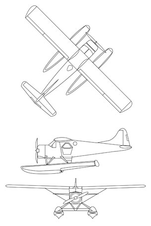 DeHavilland DHC-3 Beaver line drawing