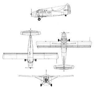 DeHavilland DHC-3 Otter line drawing