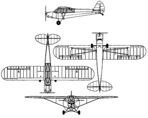 Piper Super Cub line drawing