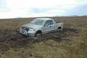 truck stuck in tundra